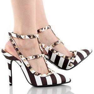 Black White Multi Metal Studs Ankle Strap Stilleto